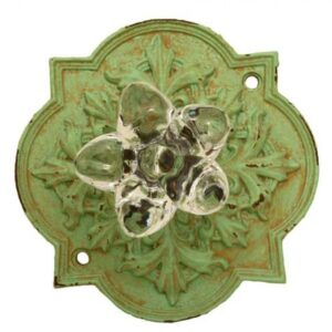 French Country Vintage Inspired Green with Crystal Knob (Z3)