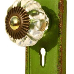 French Country Vintage Inspired Wrought Iron Green with Crystal Knob (Z3)
