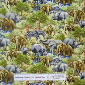 Country Patchwork Quilting Fabric AFRICAN ANIMALS Sewing Cotton 50x55cm FQ NEW