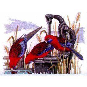 Country Threads Cross Stitch Kit - Crimson Rosellas