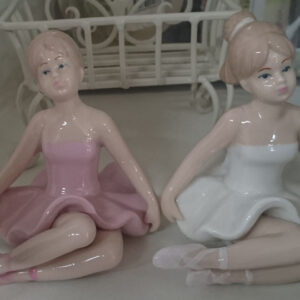 Ornamental Ballerina Girls Ballet Sitting Collectable Gift Idea New Pink/White