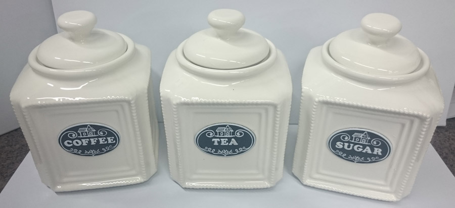 French Country Elegant Kitchen Canisters, Tea, Coffee, Sugar Black Label  With Seals NEW