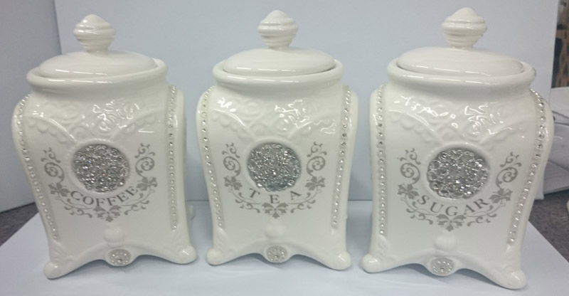 Superior French Country Elegant Kitchen Canisters, Tea, Coffee, Sugar Bling With  Seals NEW