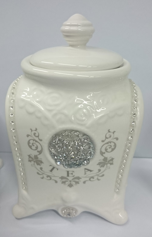 French Country Elegant Kitchen Canisters Tea Coffee Sugar Bling With Seals  New
