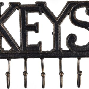 French Country Vintage Inspired Wall Art Keys Hooks Key Hanger Wrought Iron New