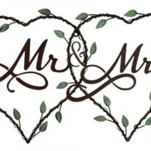 French Country Vintage Inspired Wrought Iron Black MR & MRS Ornate Wall Sign House Decor New