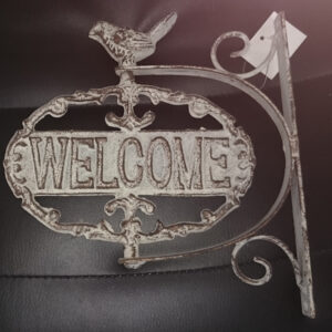 French Country Vintage Inspired Wrought Iron WELCOME/GO AWAY Double Sided Sign