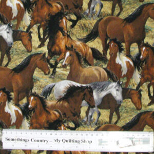 Quilting Patchwork Cotton Sewing Fabric WESTERN HORSES 1 50x55cm FQ NEW Material www.somethingscountry.com.au