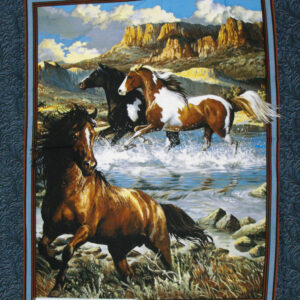 Country Patchwork Quilting Fabric WESTERN HORSES LARGE Panel 90 x 110cm New Material www.somethingscountry.com.au