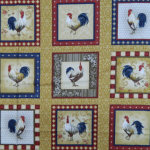 Quilting Patchwork Fabric Sewing Cotton ROOSTER INN Panel 60x110cm New www.somethingscountry.com