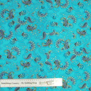 Quilting Patchwork Cotton Sewing Fabric AQUA METALLIC PAISLEY 50x55cmFQ NEW