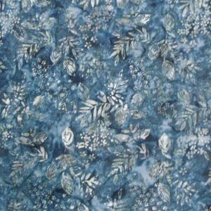 Quilting Patchwork Sewing Batik MIDNIGHT BLUE LEAVES Cotton 50x55cmFQ NEW