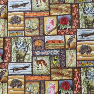 Quilting Patchwork Sewing Fabric ABORIGINAL ANIMALS Cotton 50x55cmFQ NEW
