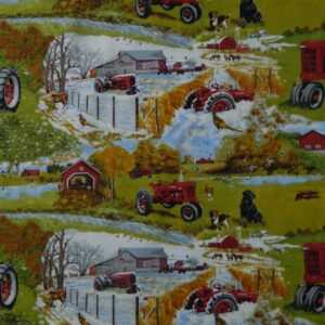 Quilting Patchwork Sewing Fabric FARMALL TRACTOR SEASONS Cotton 50x55cm FQ NEW