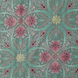 Quilting Patchwork Sew Australian Gum Leaves Warratah Silver Metallic 50x55cmFQ NEW