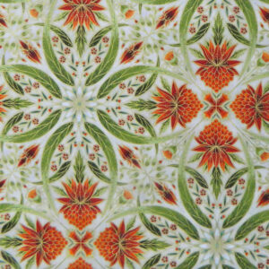 Quilting Patchwork Sew Australian Gum Leaves Warratah Cream Metallic 50x55cmFQ NEW