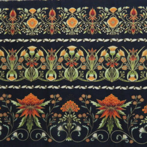 Quilting Patchwork Sew Australian Gum Leaves Warratah Black Border 50x55cmFQ NEW