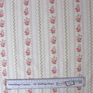 Quilting Patchwork Sewing Fabric GENTLE GARDEN FLORAL BORDER GREY 50x55cmFQNEW
