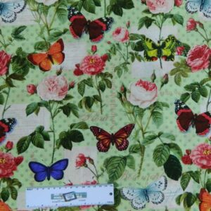 Patchwork Quilting Sewing Cotton Fabric SPRING GARDEN BUTTERFLIES 50x55cm New