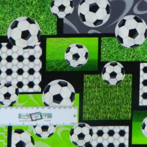 Patchwork Quilting Sewing Cotton Fabric SOCCER/FOOTBALL 50x55cm New