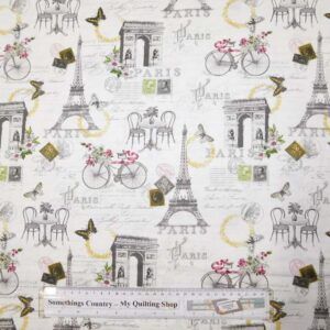 Quilting Patchwork Sewing Fabric EIFFEL TOWER PARIS Printed Cotton Material 50x55cm FQ NEW