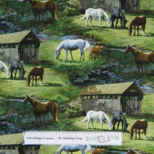 Quilting Patchwork Sewing Cotton Fabric HORSES SCENIC BARNS 50x55cm FQ NEW