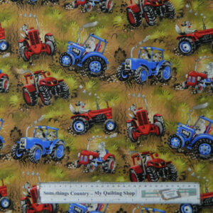 Quilting Patchwork Sewing Cotton Fabric ASSORT TRACTORS DOGS 50x55cm FQ NEW