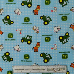 Quilting Patchwork Sewing Cotton Fabric JOHN DEERE BLUE FLANNELETTE 50x55cm FQ NEW