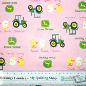 Quilting Patchwork Sewing Cotton Fabric JOHN DEERE DUCK PINK 50x55cm FQ NEW