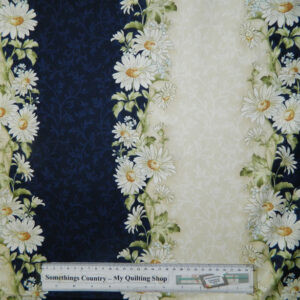Quilting Patchwork Sewing Cotton Fabric NAVY DAISY BORDER 50x55cm FQ NEW