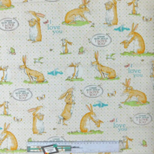 Quilting Patchwork Sewing Fabric GUESS HOW MUCH I LOVE YOU CREAM 50x55cmFQ NEW