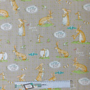 Quilting Patchwork Sewing Fabric GUESS HOW MUCH I LOVE YOU TAUPE 50x55cmFQ NEW