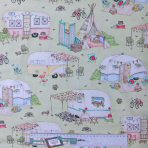 Quilting Patchwork Sewing Fabric CARAVAN GREEN Cotton Material 50x55cmFQ NEW