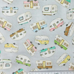 Quilting Patchwork Sewing Fabric CARAVAN GREY MULTI Cotton Material 50x55cmFQ NEW