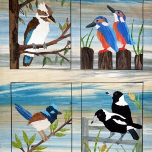 Quilting Patchwork Applique Batik Quilt by Numbers BACKYARD BIRDS Set 4 Fabric Kit New