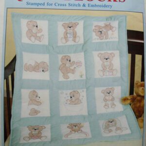 Preprinted Stamped Embroidery Quilting Blocks Stitching & X Stitch TEDDY BEARS Fabric NEW