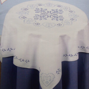 Preprinted Stamped Embroidery, Table Topper Doily X Stitch with Broadcloth Fabric NEW