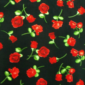 Patchwork Quilting Sewing Fabric SMALL RED ROSES Material Cotton 50x55cm FQ New