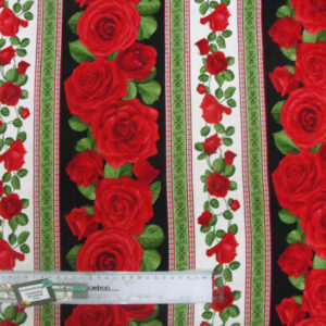 Patchwork Quilting Sewing Fabric RED ROSES BORDER Material Cotton 50x55cm FQ New
