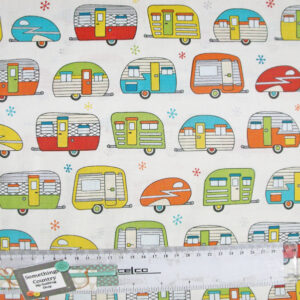 Patchwork Quilting Sewing Fabric ON THE ROAD CARAVANS Material Cotton 50x55cm FQ New