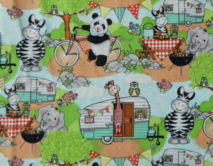 Patchwork quilting sewing fabric kids animals camping for Childrens animal fabric
