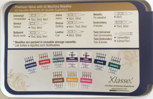 Quilting Patchwork Sewing KLASSE 10 Pack Assorted Machine Needles & Tin New