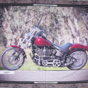 Patchwork Quilting Sewing Fabric RED HARLEY MOTORBIKE Panel 90x110cm New