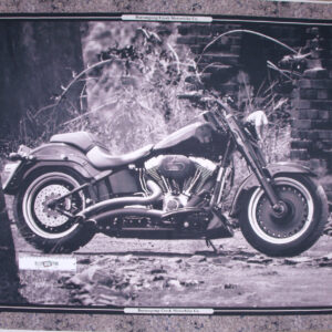 Patchwork Quilting Sewing Fabric BLACK & WHITE HARLEY MOTORBIKE Panel 90x110cm New