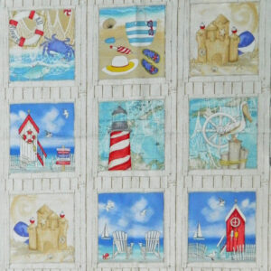 Patchwork Quilting Sewing Fabric SEASIDE LIGHTHOUSE Material Panel 60x110cm New