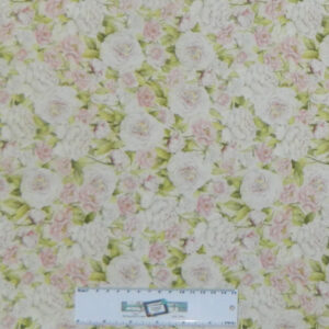 Quilting Patchwork Sewing Fabric ROMANTIC FLORAL PALE PINK Cotton 50x55cmFQ NEW Freepost