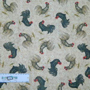 Quilting Patchwork Sewing Fabric CREAM WITH ROOSTERS Cotton 50x55cmFQ NEW Freepost
