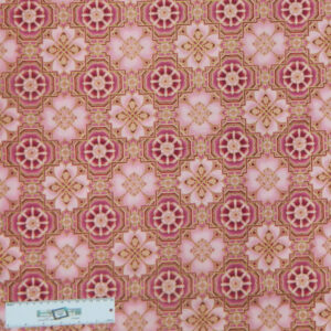 Quilting Patchwork Sewing Fabric METALLIC PINK TILES Allover Cotton 50x55cmFQ NEW Freepost