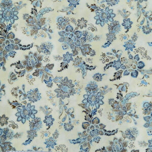 Quilting Patchwork Sewing Fabric METALLIC CREAM WITH BLUE FLOWERS Allover Cotton 50x55cmFQ NEW