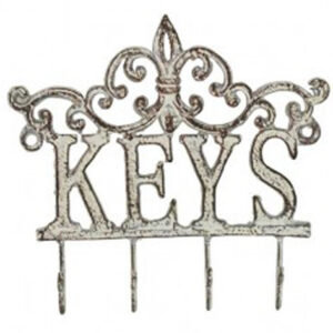 French Country Vintage Inspired Wall Art Keys Hooks Rustic White Hanger Wrought Iron New